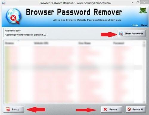 Eliminador de Contraseñas del Navegador : Elimina todas las Contraseñas almacenadas en tus Navegadores Web