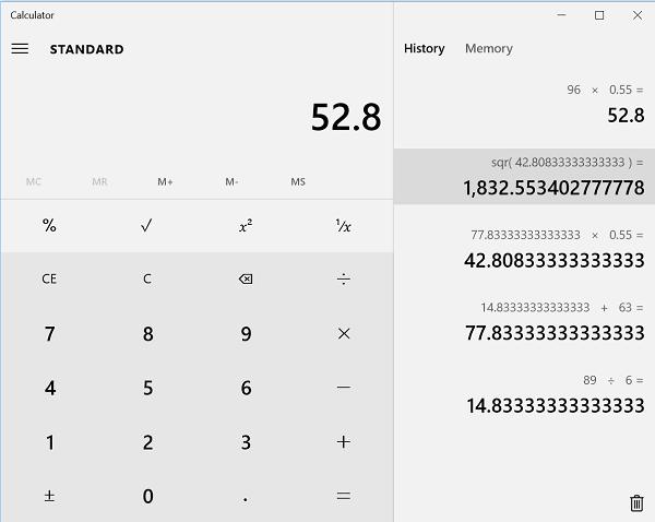 Habilitar la función de historial y mantener un registro de los cálculos en Windows 10 Calculadora