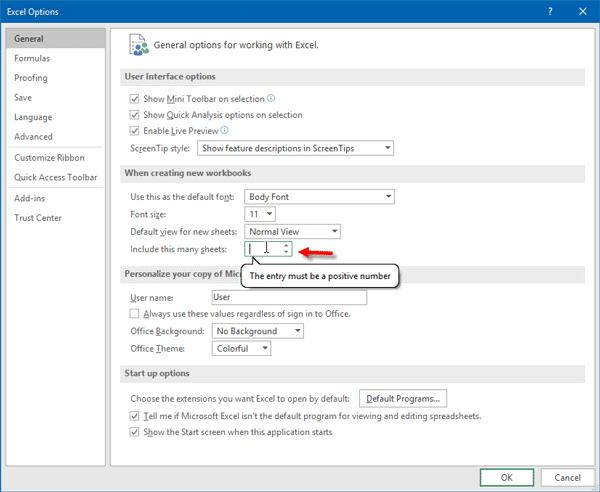 Cómo cambiar el número predeterminado de hojas de trabajo en el libro de trabajo de Excel