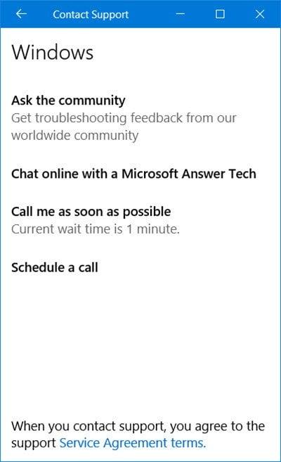 Cómo usar la aplicación Contactar con el soporte técnico en Windows 10