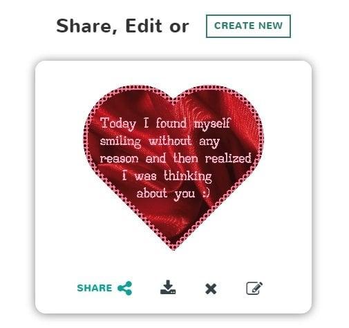 Crear tarjetas electrónicas románticas gratis en línea usando CherAmi
