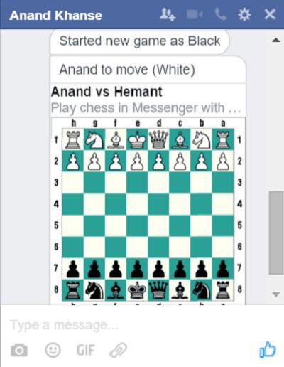 Lanzar un juego de ajedrez oculto en la aplicación de mensajería de Facebook