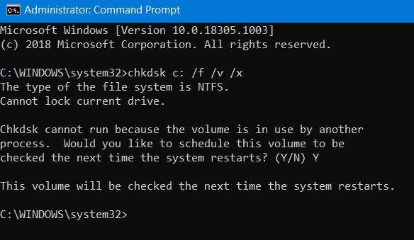 Corregir error de sistema de archivos en Windows 10
