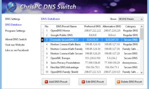 ChrisPC DNS Switch te permite cambiar rápidamente de servidor DNS