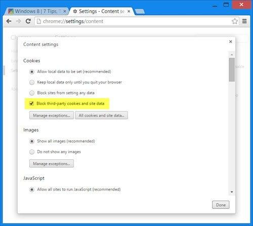 Bloquear o permitir cookies de terceros en IE, Chrome, Firefox, Opera 2