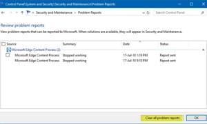 Cómo borrar informes de problemas en Windows 10