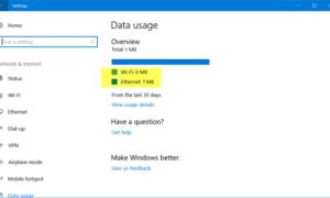 Cómo restablecer o borrar el uso de datos en Windows 10