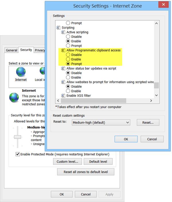 Robo de datos del portapapeles - Configuración de seguridad de Harden en Internet Explorer 2