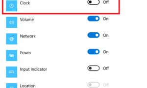 Quitar o activar iconos de sistema como Activar o desactivar el reloj en la barra de tareas de Windows 10