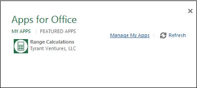 Realice los cálculos con Range Calculations App for Excel 2013