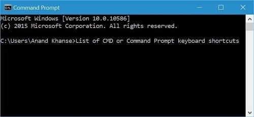 Lista de métodos abreviados de teclado CMD o Símbolo del sistema operativo en Windows 10
