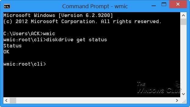 Compruebe el estado del disco duro de forma nativa en Windows 10 con WMIC