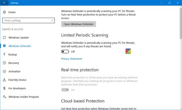 Cómo configurar Windows Defender en Windows 10 3