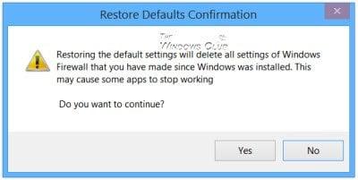 Restaurar o restablecer los valores predeterminados de la configuración del Firewall de Windows 3