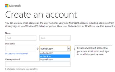 Obtenga el ID de correo electrónico de Outlook específico del país, como @outlook.in, etc. 3