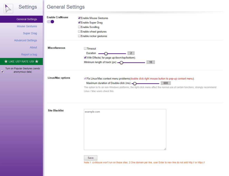 La extensión crxMouse para Chrome le permite navegar con gestos