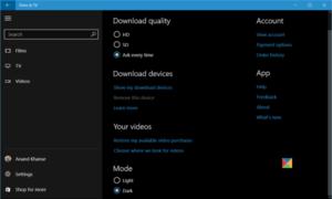 Activar el modo oscuro en películas y aplicaciones de TV en Windows 10