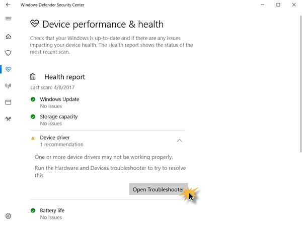 Centro de seguridad de Windows Defender en Windows 10 7