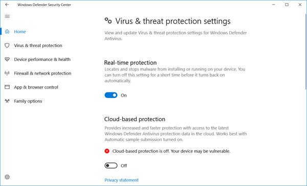 Centro de seguridad de Windows Defender en Windows 10 12
