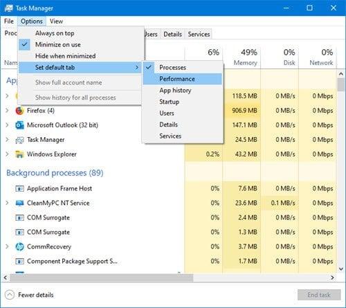 Cómo hacer que el Administrador de tareas de Windows 10 se abra en una ficha específica
