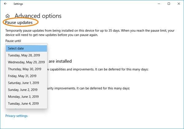 Cómo pausar, retrasar y diferir las actualizaciones de Windows hasta 365 días en Windows 10 3