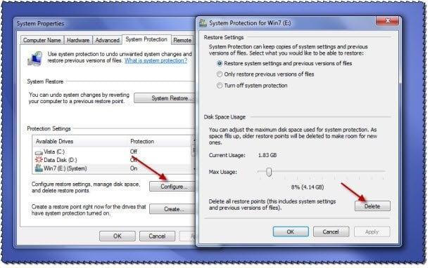 Cómo eliminar todos los puntos de restauración del sistema antiguos y versiones anteriores de archivos en Windows