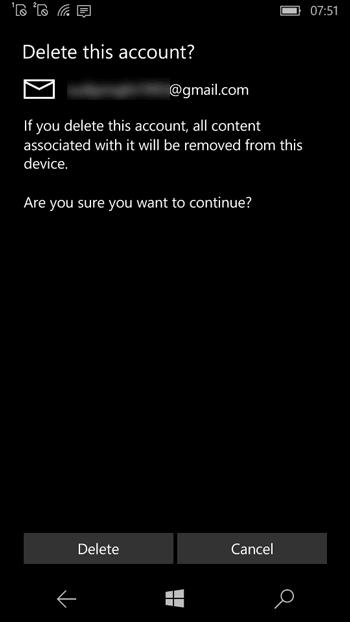 Cómo eliminar una cuenta de correo electrónico en Windows Phone