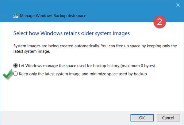 Libere espacio en disco eliminando las imágenes del sistema y las copias de seguridad anteriores en Windows 10.