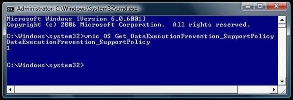 Verificar el estado de la configuración de la Prevención de ejecución de datos (DEP) en Windows 10/8/7 1