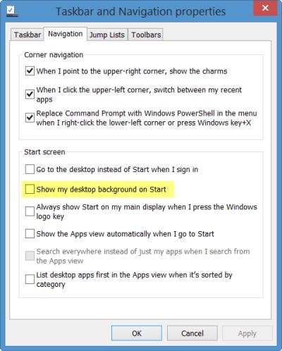 Mostrar el fondo de escritorio como fondo de pantalla de inicio en Windows 8.1