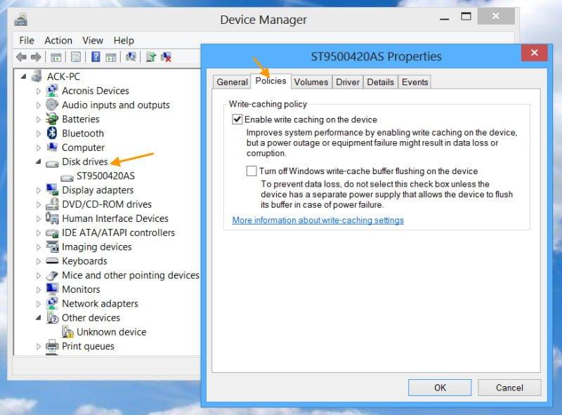 Habilitar, deshabilitar el almacenamiento en caché de discos en Windows 10/8/7
