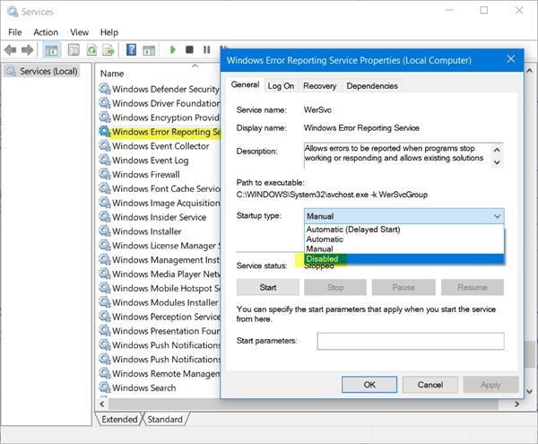 Servicio de informes de errores de Microsoft Windows en Windows 10/8/7