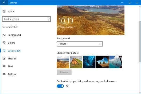 Desactivar los anuncios y consejos de bloqueo de pantalla en Windows 10
