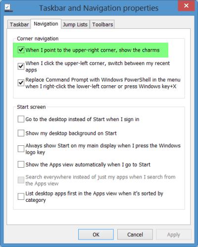 Desactivar la barra de Charms en Windows 8 con la actualización a Windows 8.1