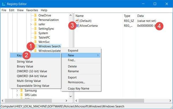 Cómo deshabilitar Cortana en Windows 10 mediante Registry o Group Policy