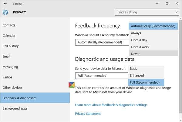 Cómo deshabilitar la retroalimentación en Windows 10