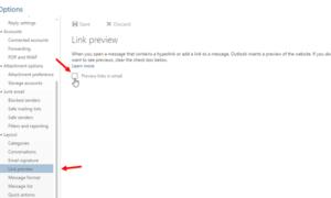 Cómo desactivar la vista previa de enlaces en Outlook Web