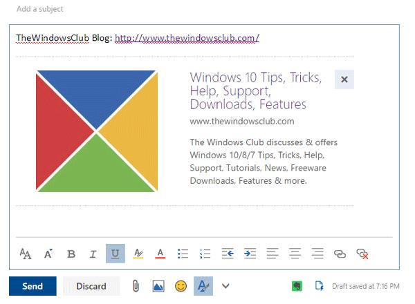 Cómo desactivar la vista previa de enlaces en Outlook Web 1