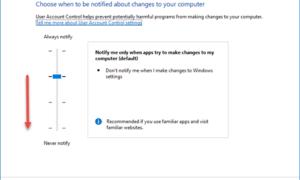No se puede cambiar la configuración del Control de cuentas de usuario (UAC) en Windows 10