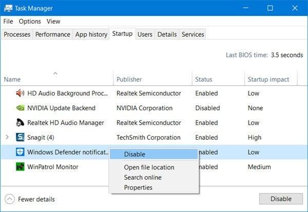Ocultar o deshabilitar el icono del Centro de seguridad de Windows Defender en la barra de tareas de Windows 10