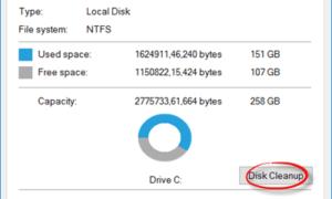 Falta el botón del Liberador de espacio en disco en Windows 10/8/7