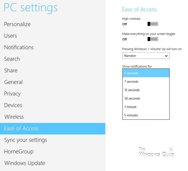 Tiempo de visualización de notificaciones de cambio en Windows 10/8/7