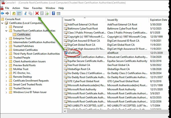 Instrucciones para la eliminación de certificados eDellRoot: Cómo eliminar completamente el certificado de eDellRoot 3
