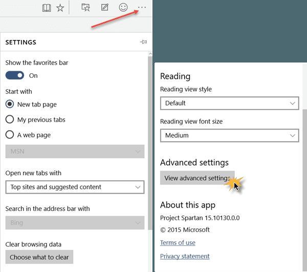 Cambiar la configuración del explorador Edge en Windows 10