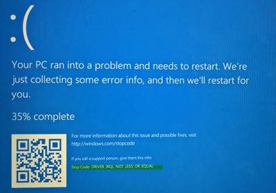 Corrección de Bugcode 0xA - IRQL_NOT_LESS_OR_EQUAL en Windows 10