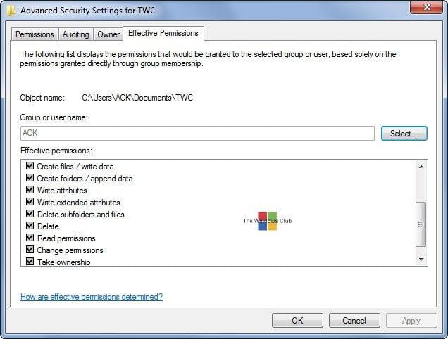 ¿Qué son los permisos efectivos para archivos y carpetas en Windows?
