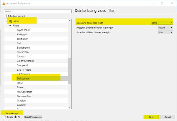 Cómo activar el modo Desentrelazado en VLC Player en Windows 10