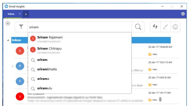 Realice búsquedas rápidas en el correo electrónico de Outlook y Gmail mediante Email Insights para Windows.