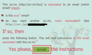Scr.im convertirá su dirección de correo electrónico en un enlace personalizado