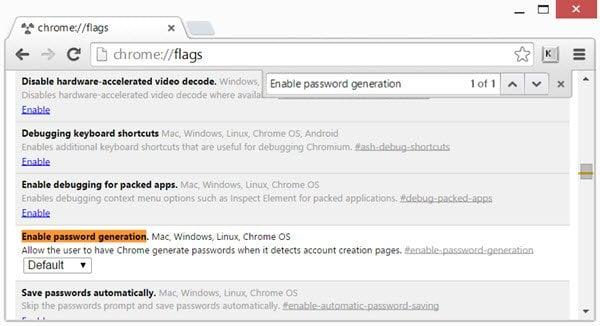 Habilitar y usar el Generador de contraseñas incorporado de Chrome 1